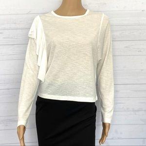 NWOT Zara Knit Ruffle Long Sleeve Top
